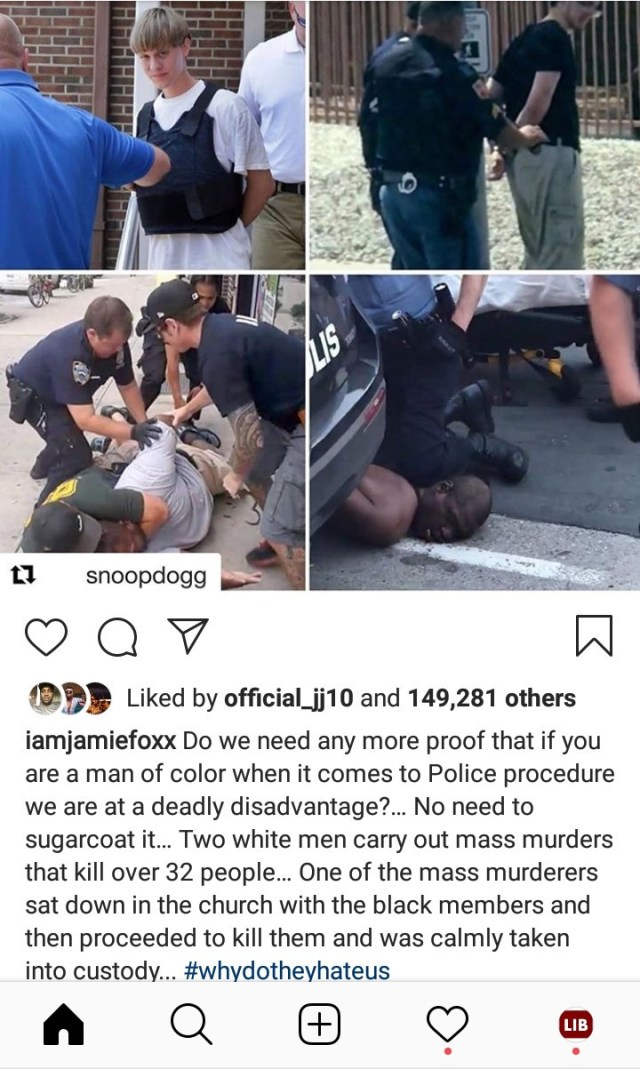 Snoop Dogg highlights difference in how police arrest White mass murderers and how they arrest unarmed Black men