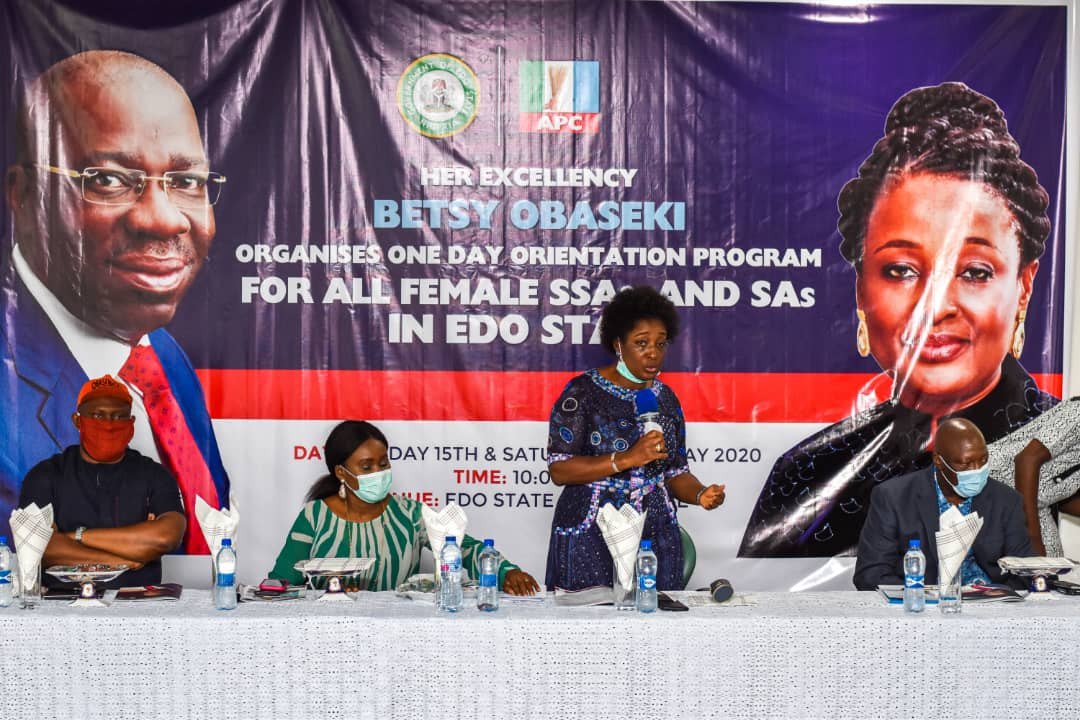 Edo First Lady admonishes over 200 female SSAs, SAs on call to service as Obaseki appoints over 400 women