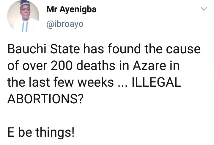 Illegal abortions responsible for mysterious deaths in Azare ?Bauchi?government reveals result of findings