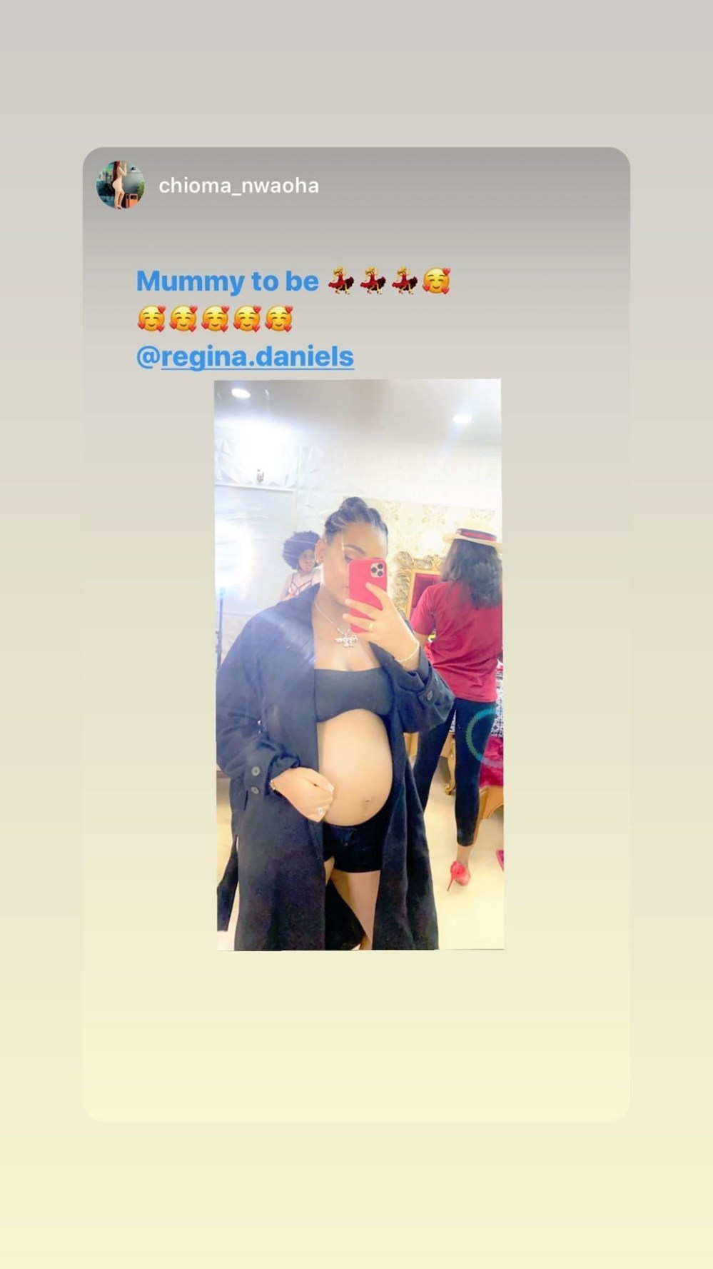 Regina Daniels flaunts bare baby bump as she releases more photos and videos following her pregnancy announcement
