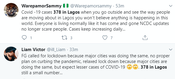 Nigerians react as Lagos records 378 new cases of COVID-19