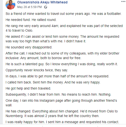 Man narrates how he helped a footballer friend twice even after he stopped talking to him after becoming successful
