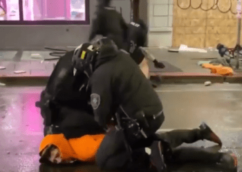 Cop removes colleague's knee from protester's neck (video)
