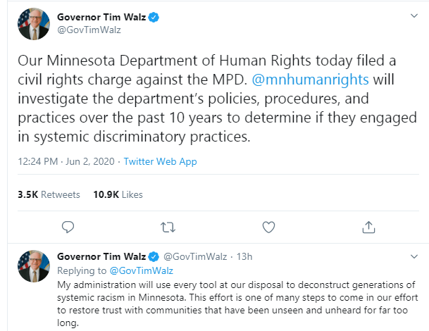 State of Minnesota files civil rights charge against state