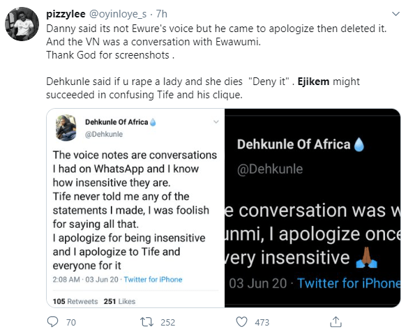 Even if you rape a woman, deny it - Twitter influencer, Dehkunle of Africa is heard saying in voice note leaked by another influencer