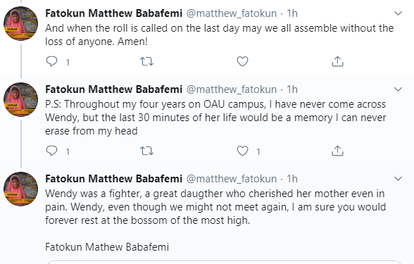 Twitter user shares heartbreaking details of the final moments of an OAU student who fought to live after a fatal accident