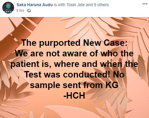 Kogi state Commissioner for Health questions NCDC?s claim of a third COVID-19 case in the state