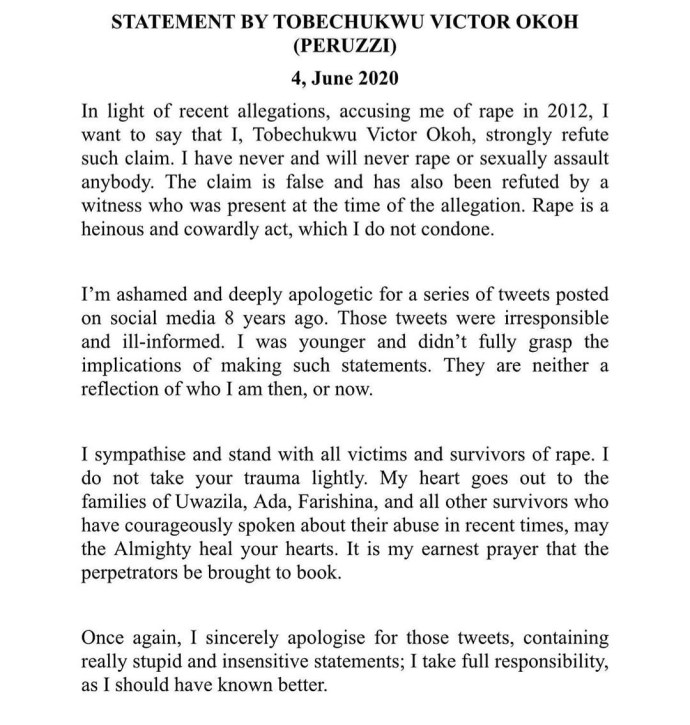5ed8f2e334853 Peruzzi releases official statement responding to the rape allegation leveled against him; apologizes for his old tweets in which he declared himself a rapist