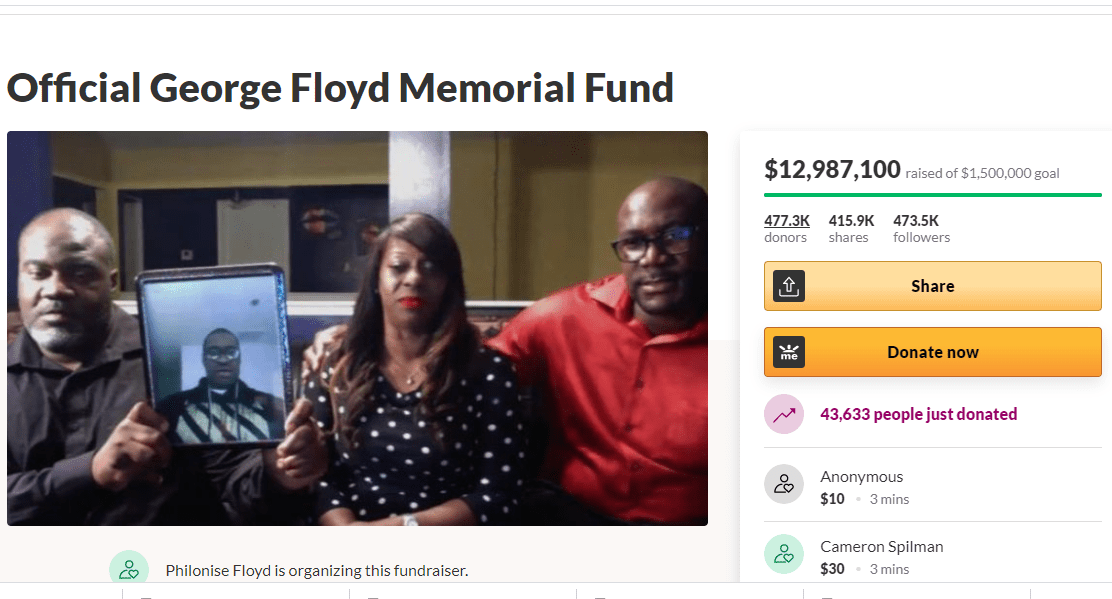 GoFundMe created for George Floyd has received nearly $13 million, the most donations of all time with more people still donating