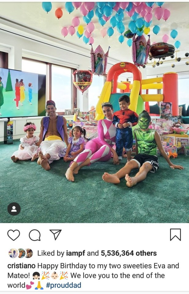 Cristiano Ronaldo and his family don fancy costumes to celebrate the third birthday of his twins Eva and Mateo