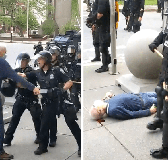 57 New York police officers resign from ERT after two of their colleagues were suspended for shoving a 75-year-old man to the ground?during protest
