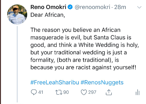 Reno Omokri Reveals That The Reason Africans Believe Masquerade Is Evil But Santa Claus Is Good Is Because They Are Racists