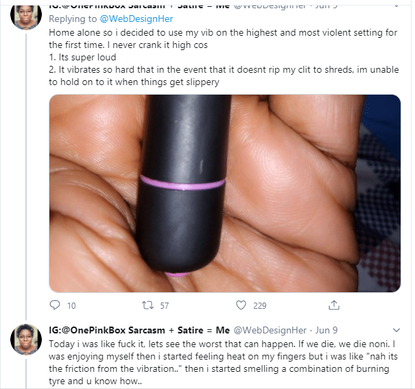 My vagi*a almost caught fire - Twitter user narrates how her vibrator started melting while using it