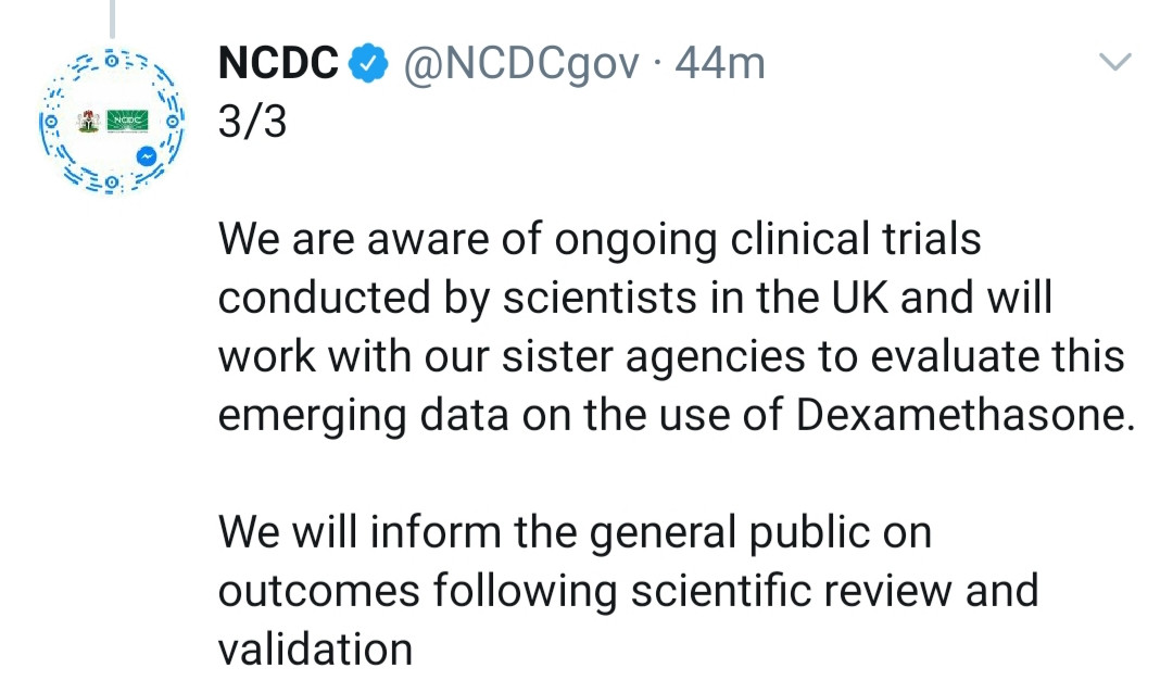 New COVID-19 medicine, Dexamethasone has not been approved in Nigeria - NCDC