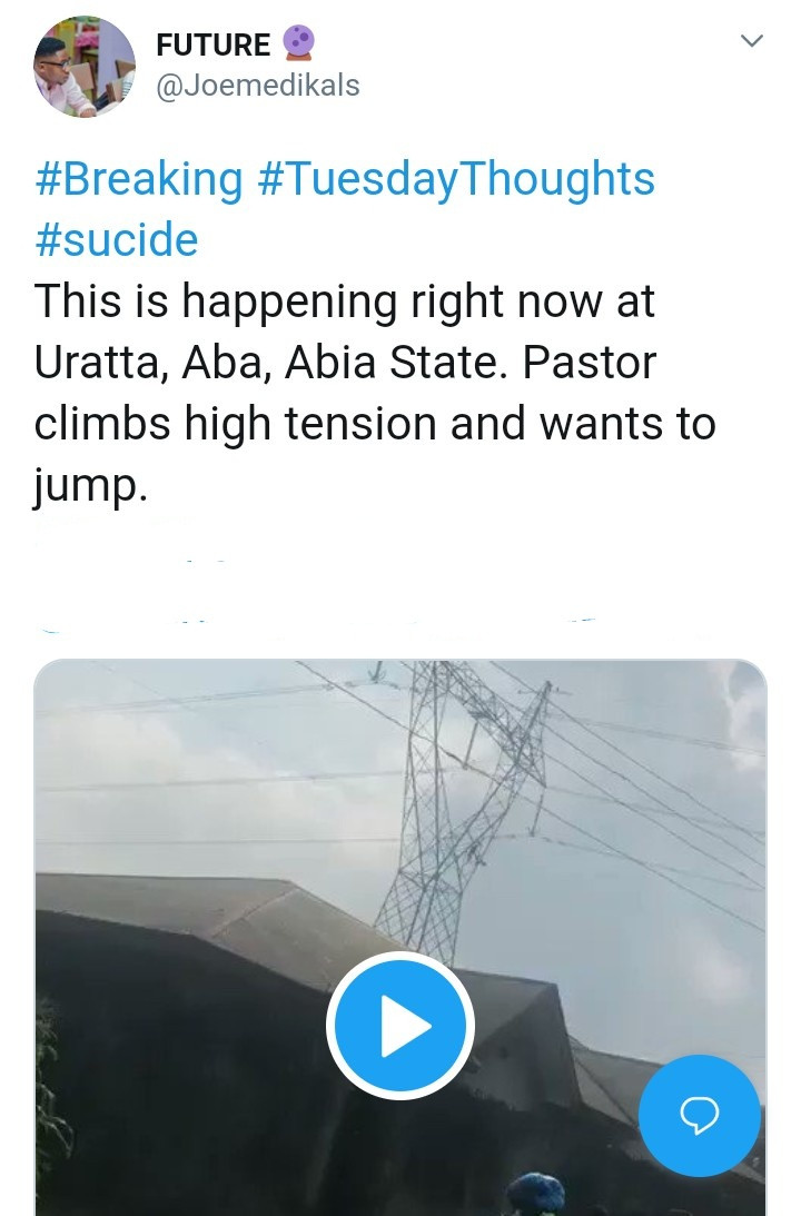Pastor finally climbs down from high tension electrical cable hours after he climbed up and threatened to jump (video)