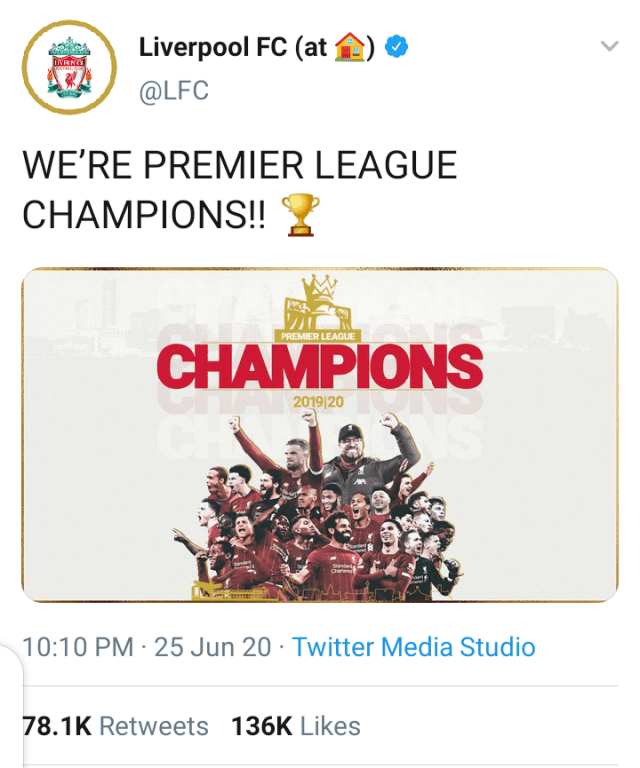 Breaking: Liverpool are champions of the English Premier League