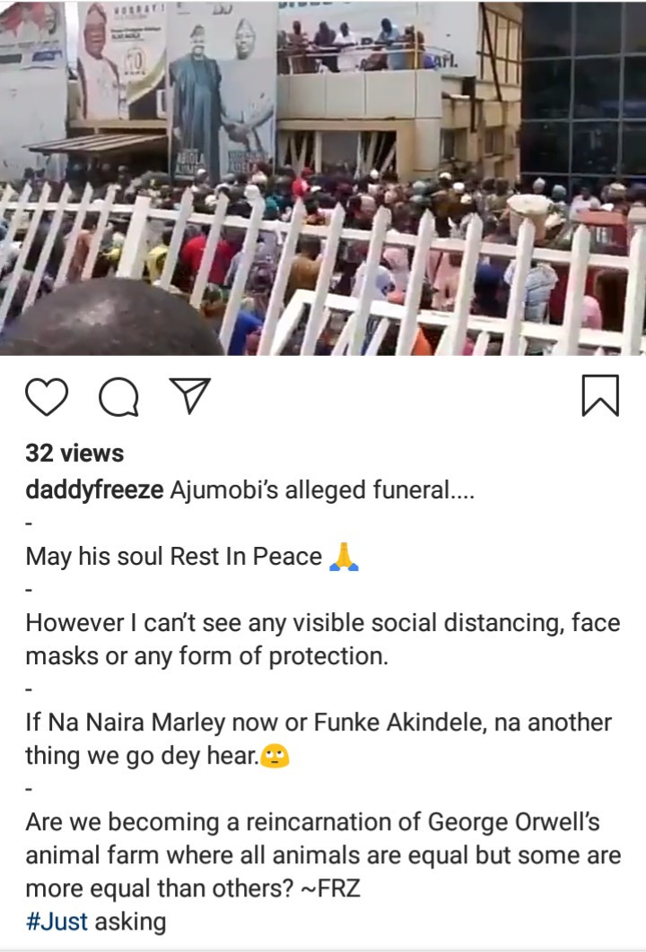 Daddy Freeze reacts to the lack of social distancing at Abiola Ajimobi
