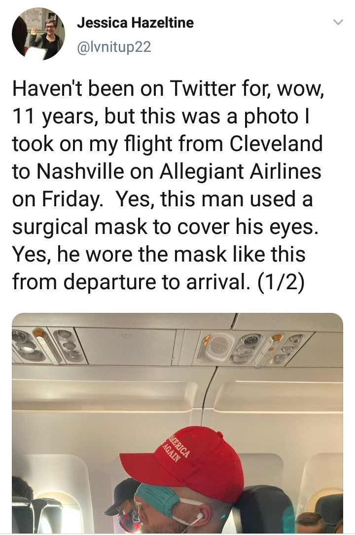 Man becomes a meme after he was pictured wearing a face mask on his eyes and a MAGA hat