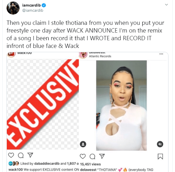 Never heard about you till you started using my name - Cardi B slams female rapper who accused her of stealing her lyrics