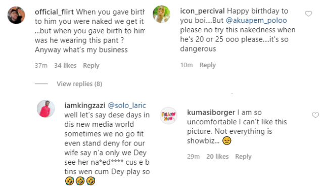 Ghanaian actress, Akupem Poloo goes naked in front of her son to wish him a happy 7th birthday because