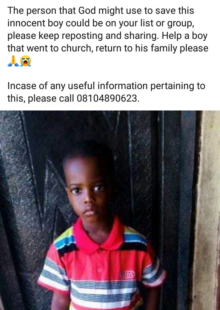 3-year-old boy kidnapped from church in Anambra state