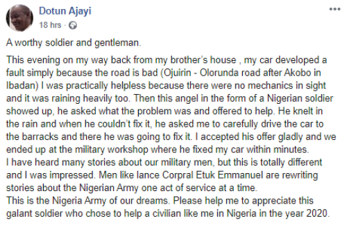 5efc88261a42f - Nigerian Man Appreciates Soldier Who Helped Him When He Was Stranded In The Rain (Images)