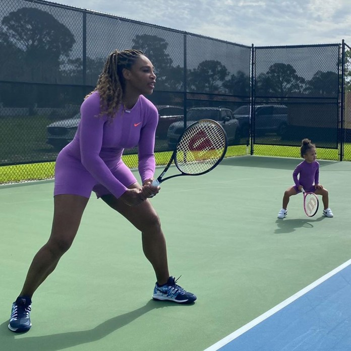 Catch them young! Adorable clips show Serena Williams and her daughter playing tennis in matching sportswear (photos/video)