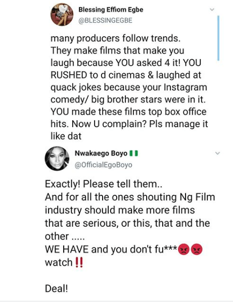 Ego Boyo and Blessing Egbe react to criticism against Nollywood movies