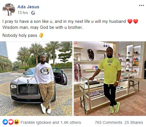 """I pray to have a son like Hushpuppi"" Nigerian lady says as she showers praises on Hushpuppi"