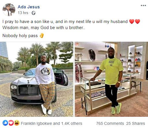 """I pray to have a son like Hushpuppi"" Nigerian lady says as she showers praises on Hushpuppi"