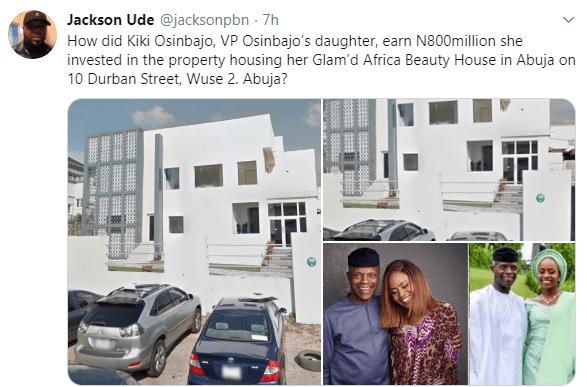 Kiki Osinbajo, daughter of VP Yemi Osinbajo, reacts to Jackson Ude