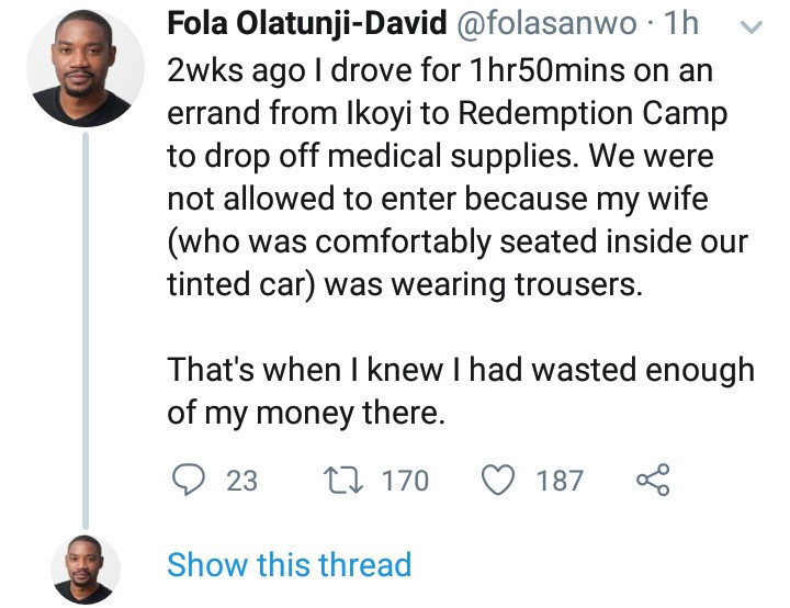 """Former Google staff narrates an encounter at Redemption Camp that made him decide he has """"wasted enough of his money there"""""""