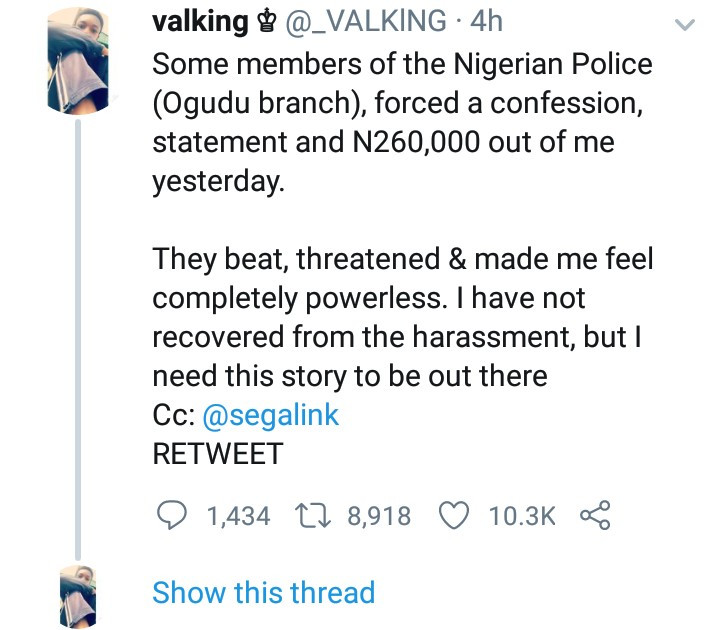 Twitter influencer accuses Ogudu police of beating him up, threatening to kill him, and forcing him to say on camera that he