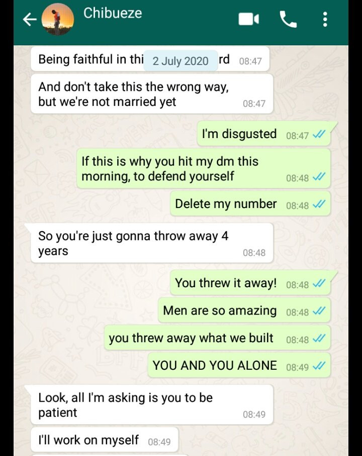 Being faithful in this Lagos is hard'' Man tells his girlfriend after she caught him cheating 3