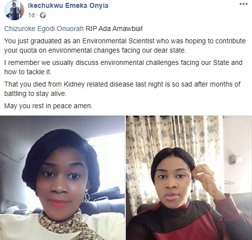UNIZIK graduate dies after she was allegedly poisoned by a man she turned down