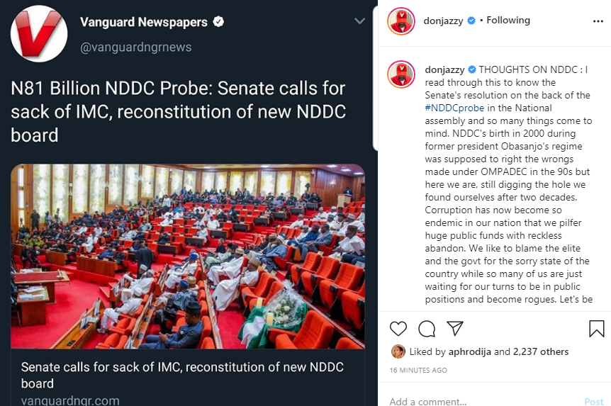 An opportunity for Niger Delta to be a model for the entire nation was wasted by a few selfish people - Don Jazzy writes on NDDC probe