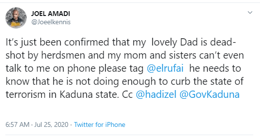 Singer, Joel Amadi says his father was shot dead by Fulani herdsmen in Southern Kaduna; calls out Gov. El-Rufai?