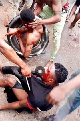 Two burnt to death in Imo state over robbery allegation (graphic photos)
