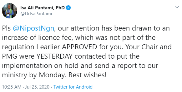 Minister of Communications, Isa Pantami, calls out NIPOST on twitter for increasing its licensing fees without his approval