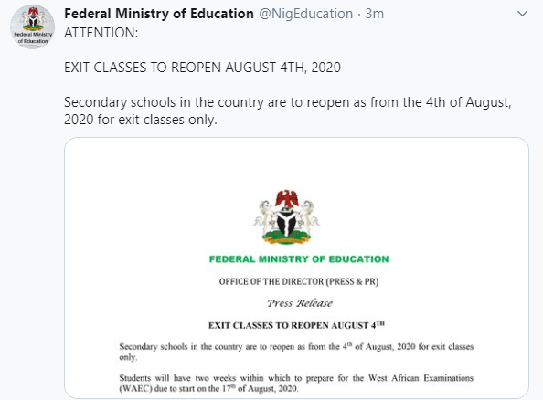 Breaking: Secondary school students in exit classes to resume August 4 for WAEC exams starting August 17