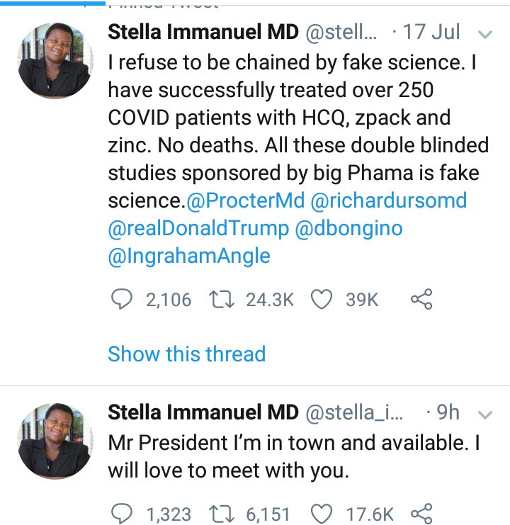 Nigerian-trained US-based doctor threatens Facebook for taking down her posts after she said on national TV that she has cured COVID-19 patients with hydroxychloroquine
