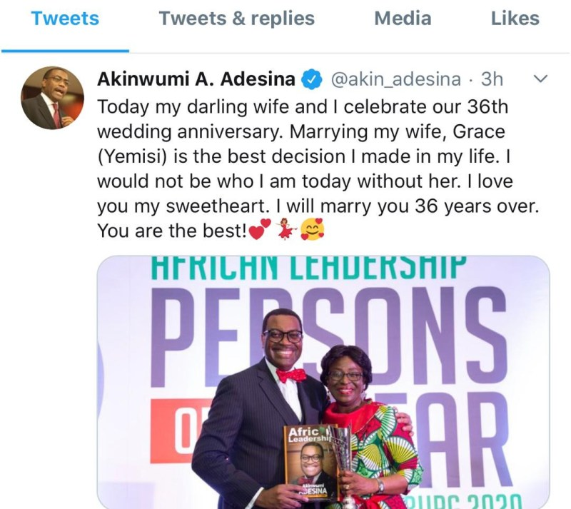African Development Bank president, Akinwunmi Adesina and wife celebrate 36th wedding anniversary