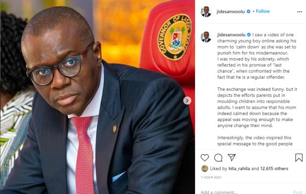 Governor Sanwo-Olu says he