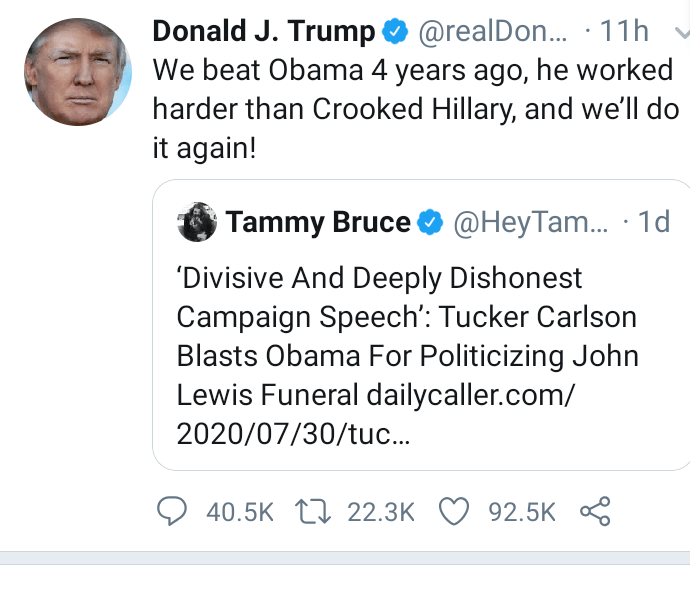 We beat Obama four years ago we