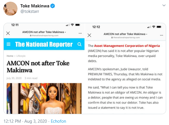 """Freedom of speech is great but what happens after is going to be amusing too - Toke Makinwa threatens as she reveals police are investigating the """"false stories"""" that AMCON seized her house"""