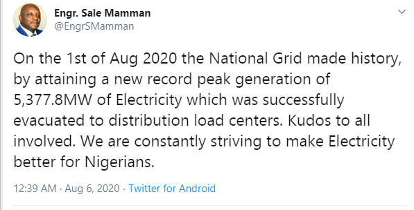 Minister of power, Sale Mamman confirms Nigeria attained a new record peak generation of 5,377.8MW of electricity