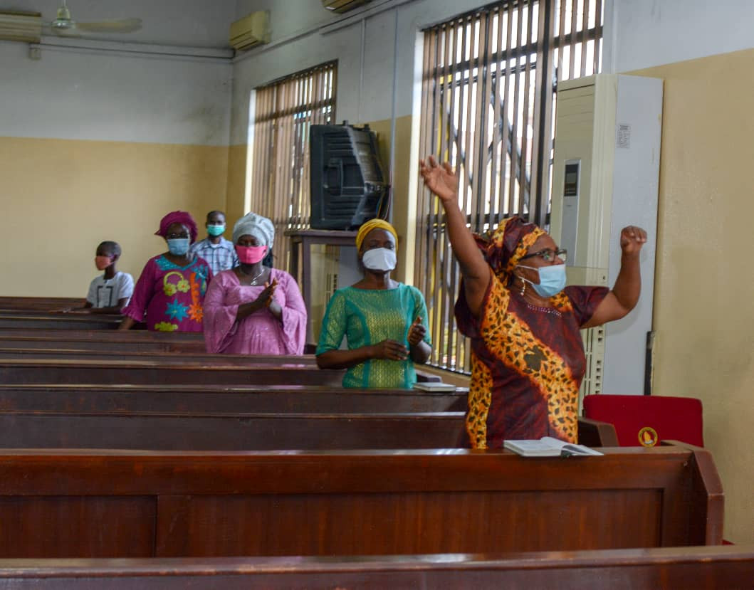 Christians adorn facemask and observe social distancing as churches in Lagos reopen for service (photos)