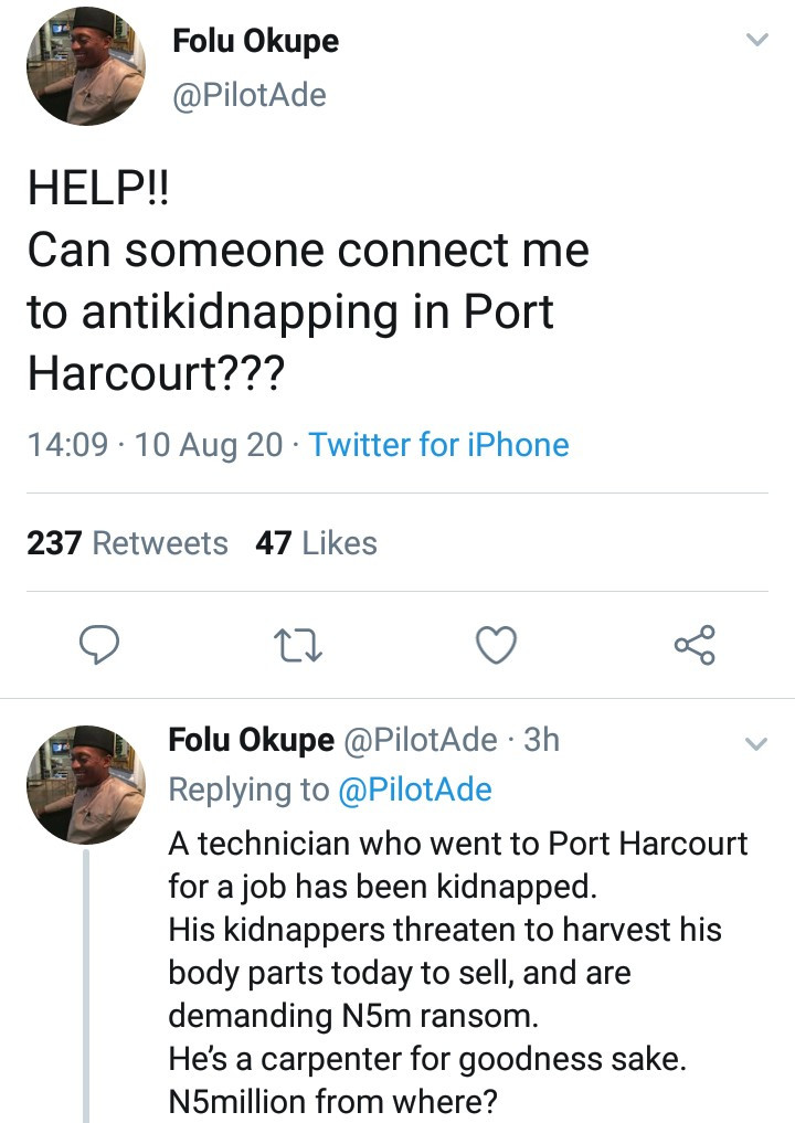 Employer cries for help as his technician is kidnapped and the abductors have threatened to kill him after allegedly killing four others for not paying ransom