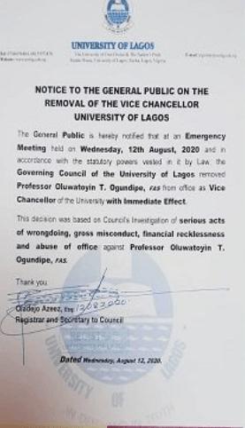 UNILAG governing council sacks Vice Chancellor, Professor Toyin Ogundipe