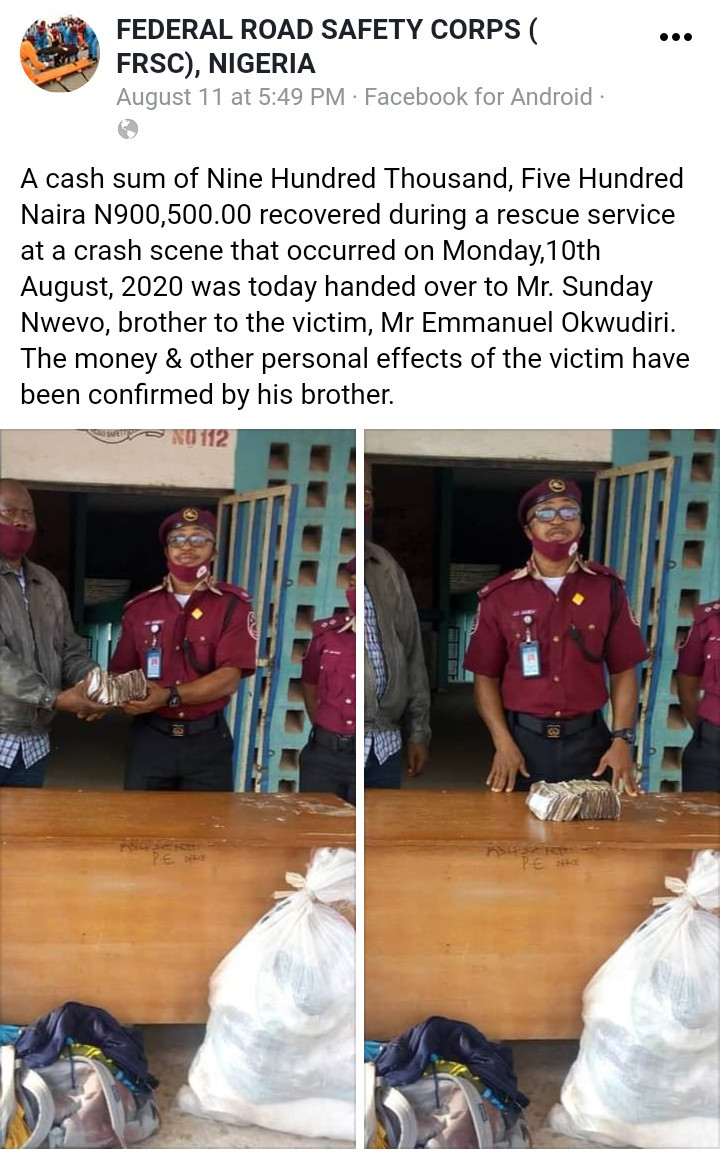 FRSC returns 900,500 recovered at the scene of a road crash